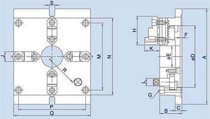 4-klauwplaat vierkant en plat