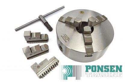 Bison 3-klauwplaat 125mm DIN 6350 3504-125 stalen uitvoering