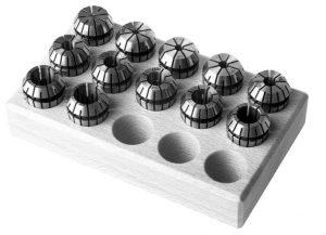 Spantangen set ER25 in houten blok